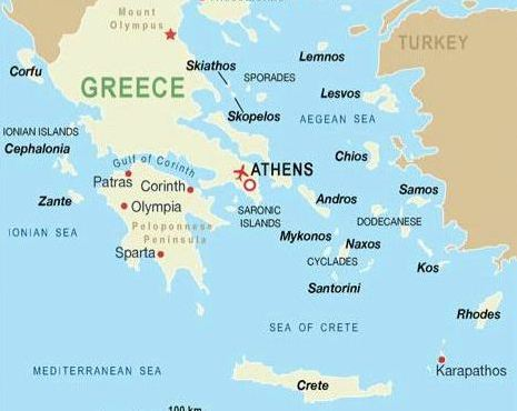 Mykonos location on the greece map