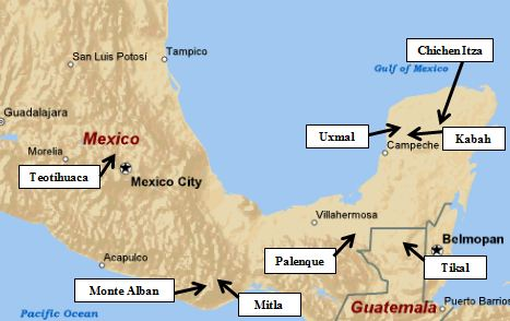 Map of Mexico\'s Archaeological site Locations,
