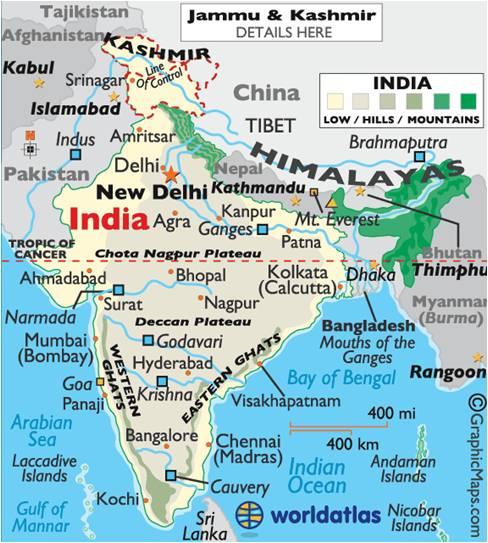 physical map of india with states flood hazard